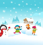 Snow Fight. Vector illustration of cute little kids enjoying winter playing snow fight Royalty Free Stock Photo