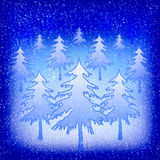 Snow-filled christmas trees at night Royalty Free Stock Photos
