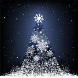 Snow fir-tree. The Cristmas snow fir on the dark blue mesh background Stock Photos