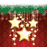 Snow Fir Twigs Bokeh Golden Curtain Big Stars Stock Photography