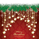 Snow Fir Twigs Bokeh Golden Curtain Stars Royalty Free Stock Photos