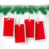 Snow Fir Twigs Bokeh 4 Red Price Stickers Stock Photo