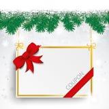 Snow Fir Twigs Bokeh Red Ribbon Coupon Stock Image