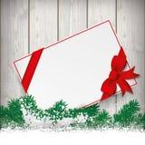 Snow Fir Twigs Bokeh Wood Laths Card Ribbon Stock Photos