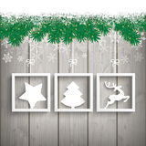 Snow Fir Twigs Wood Laths 3 Frames. Fir twigs with snow on the wooden background Royalty Free Stock Image