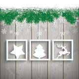 Snow Fir Twigs Wood Laths 3 Frames Royalty Free Stock Image