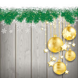 Snow Fir Twigs Wood Laths Golden Baubles Royalty Free Stock Images