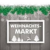 Snow Fir Twigs Wood Laths Weihnachtsmarkt Stock Image