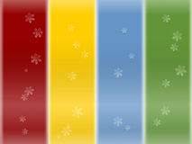 Snow flake background. Red yellow blue green colorful snow flake background Royalty Free Stock Photo