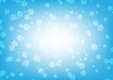 Snow flake background. Whiteon blue Stock Photos