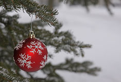 Snow Flake Bauble Outside Royalty Free Stock Images