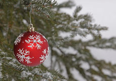 Snow Flake Bauble Outside Stock Images