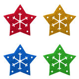 Snow flake Christmas ornaments. On white background. Star shape Royalty Free Stock Photos