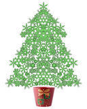Snow flake Christmas tree. A decorative illustration of a 3d snow flake Christmas tree Stock Photography