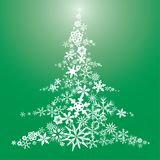 Snow flake Christmas tree. Christmas tree made from snowflakes arranged on a green background Stock Illustration