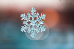 Snow flake Christmas Tree Ornaments at sunset Stock Photos