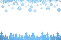 Snow flake frame in blue Stock Photography