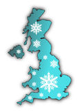 Snow Flake Map UK. Map of the United Kingdom with blue gradient covered in white snow flake designs Stock Photography