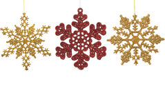 Snow Flake Ornaments. Snow flake Christmas ornaments on white background Royalty Free Stock Image