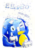 Snow flake penguin illustration Stock Image