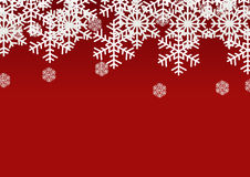 Snow flake on red background; Christmas season holiday template design; Happy celebration decor. Royalty Free Stock Images