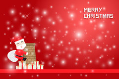 Snow flake and santa claus climbing chimney with gift boxes. On red background Stock Images