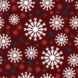 Snow flakes. White, blue and red snowflakes seamless pattern Royalty Free Stock Photo