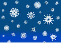 Snow flakes. Winter scene, snowflakes illustration with a dark blue background Stock Photo