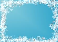 Snow flakes. Abstract with white snow flakes against blue background stock illustration