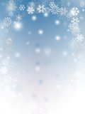 Snow flakes. Abstract with white snow flakes against blue background royalty free illustration