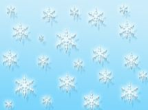 Snow flakes. A winter background in blue with white snow flakes royalty free illustration