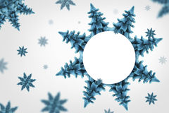 Snow flakes. Cyan trees looks like a snow flakes in a white background, sample your text Stock Images