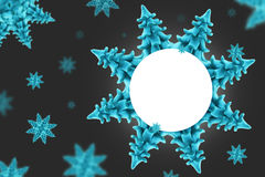 Snow flakes. Cyan trees looks like a snow flakes in a white background, sample your text Royalty Free Stock Photos