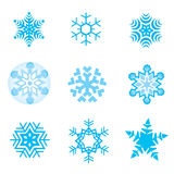 Snow_flakes. Nine original vector snow-flakes Stock Photography