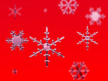 Snow flakes. Isolated on red royalty free illustration