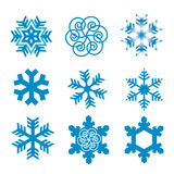 Snow_flakes. Nine original vector snow-flakes Royalty Free Stock Image