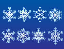 Snow Flakes. Eight Intricate Snow Flake Designs royalty free illustration