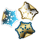 Snow flakes as labels Royalty Free Stock Photo