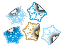 Snow flakes as labels Stock Photo