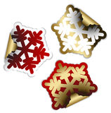 Snow flakes as labels and stickers Stock Photography