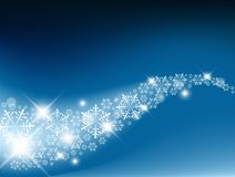 Snow flakes background. Blue Abstract Christmas  background with white snowflakes Stock Image
