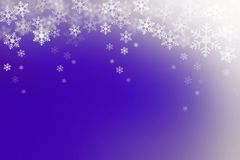 Snow flakes on blue and white, abstract winter background. Stock Images
