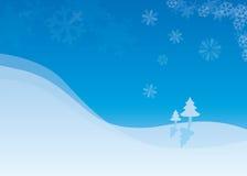 Snow flakes and Christmas tree Stock Photos