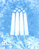 Snow flakes and church window. A decorative illustration of a three 3d snow flake surrounding a church window shape Royalty Free Stock Photography