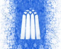 Snow flakes and church window Stock Image