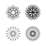 Snow flakes collection black and white Stock Images