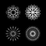 Snow flakes collection white and black Stock Photography