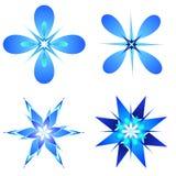 Snow flakes designs. Shiny snow flakes designs on white background Stock Image