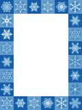 Snow Flakes Frame Vertical Blue Christmas Royalty Free Stock Photos