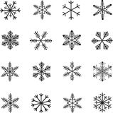 Snow-flakes icon set, black and white vector Stock Image